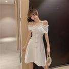 洋裝 裙子一字肩氣質蝴蝶結露肩顯瘦時尚連身裙夏天-Ballet朵朵