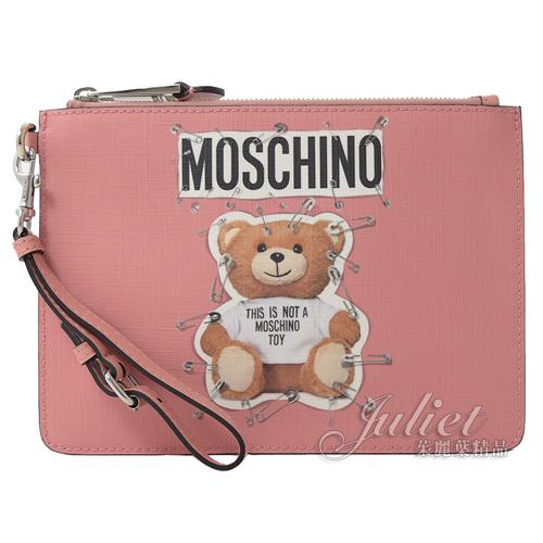 茱麗葉精品【新進品牌 獨家價】MOSCHINO 7A8421 立體迴紋針泰迪熊手提萬用包手拿包.粉