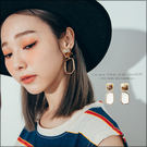 URES 韓國渲染方形不規則金屬幾何簍空耳夾【881008197】