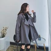 春秋2018新款韓版收腰系帶小個子學生寬鬆百搭短款灰色風衣外套女