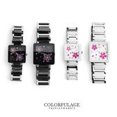 Valentino范倫鐵諾 浪漫櫻花精密陶瓷方形手錶腕錶 原廠公司貨 柒彩年代【NE1244】單支