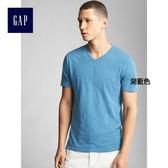 Gap男裝 柔軟純色柔軟V領短袖T恤男 306506-湖藍色