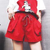 黑色好物節 運動短褲女夏2018新款高腰休閒薄款鬆緊腰寬鬆闊腿褲百搭運動熱褲