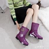 新品中筒雨鞋女士保暖加絨時尚水靴雨靴防滑防水膠鞋套鞋短筒水鞋 極簡雜貨