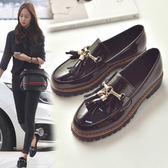 店長推薦英倫流蘇小皮鞋女秋季新款粗跟牛津樂福鞋漆皮厚底中跟日系女單鞋