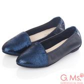 G.Ms. * MIT系列-全真皮尖頭金屬爆裂紋懶人鞋-寶藍