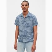 Gap男裝做舊風格時尚短袖襯衫573422-深邃藍