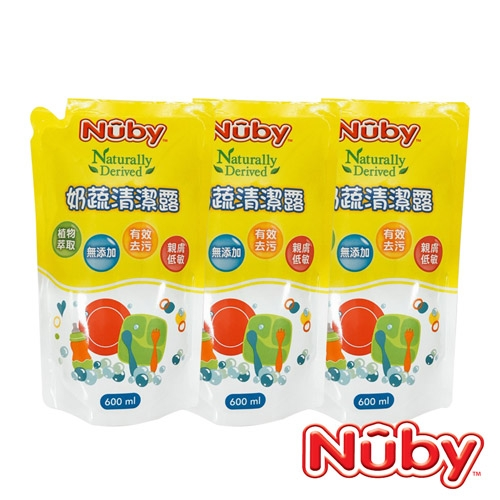 Nuby 奶蔬清潔露補充包_3包(1800ml)