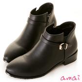 amai微彈性皮帶設計低筒短靴 黑