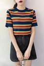 針織短袖 復古撞色彩虹條紋冰絲針織半袖T恤女夏季新款短袖顯瘦百搭上衣潮 聖誕節狂歡