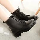 [Here Shoes] 英式雨鞋 綁帶馬丁雨靴 雨天熱銷款 輕便百搭防水 低粗跟雨鞋─AR809
