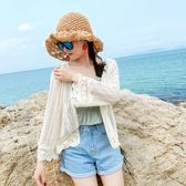 防曬衣夏寬鬆針織蕾絲開衫女泰國度假防曬衫沙灘服海邊披肩短款【八五折限時免運直出】