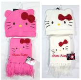 【卡漫城】 Hello Kitty 兒童 毛線帽 + 圍巾 桃紅 ㊣版 保暖 兩件式 童裝 ~ 690元