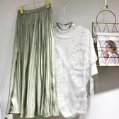 I513# 裙子高腰半身裙銅氨絲滑大擺傘裙垂感長款過膝裙 &小咪的店&