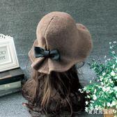 毛呢圓頂帽子 秋冬天女士英倫時尚百搭盆帽漁夫帽潮 BF13541『寶貝兒童裝』