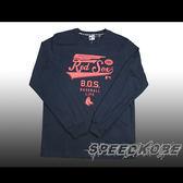 創信MLB  秋冬服飾 薄版長袖棉T 紅襪 深藍色 紅草寫英文字  # 5560116-580 ☆speedkobe☆