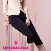 【SHOWCASE】休閒質感打摺顯瘦修身七分褲(黑)