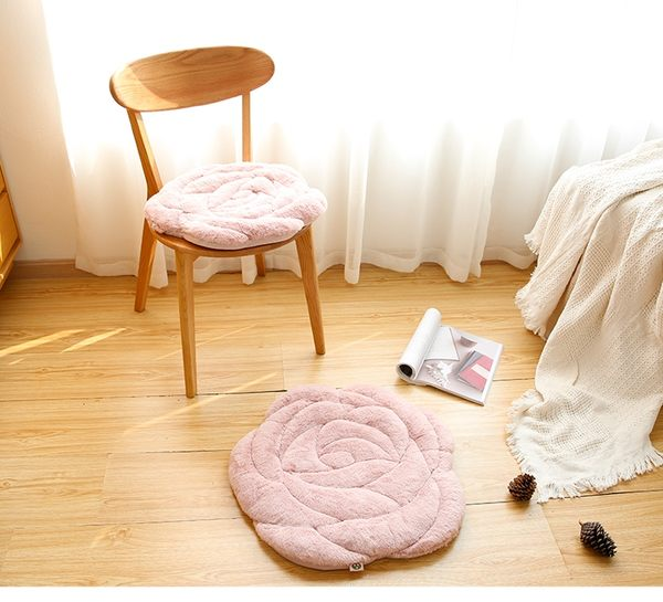 九只貓玫瑰花坐墊辦公室椅子墊秋冬季榻榻米毛絨加厚坐墊椅墊地墊