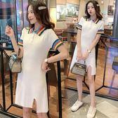 促銷價不退換新款條紋T恤中長裙XL-4XL中大尺碼33434港風彩虹撞色POLO領學院風針織裙下擺開叉冰絲裙