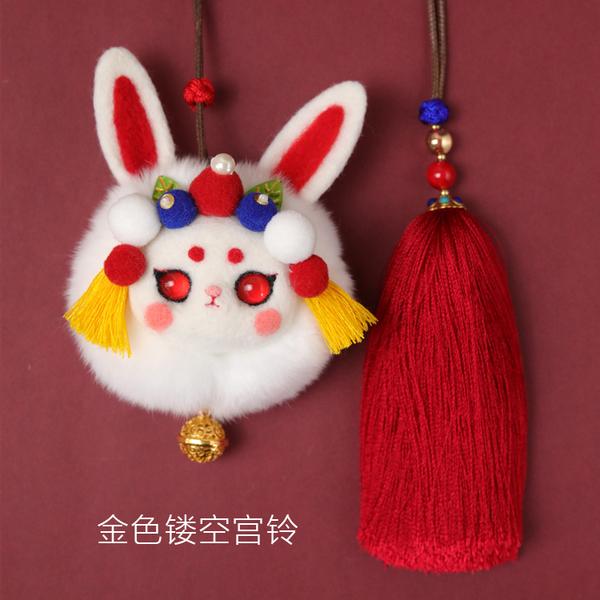 羊毛氈 兔兒爺 羊毛氈獺兔毛球 端午節手工DIY材料包 中國風香囊車掛