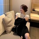 長款洋裝 修身針織連身裙女秋冬2021新款港風拼接長袖收腰中長款打底裙子潮  伊蘿