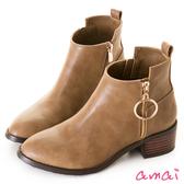 amai金屬圓環拉鏈裝飾短靴 駝