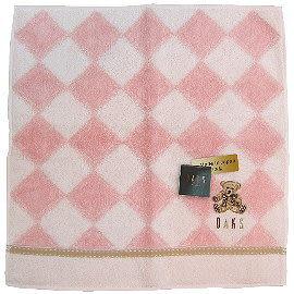 【波克貓哈日網】日系DAKS方巾毛巾◇ 28x28 cm◇《粉紅色菱格紋》