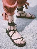 新款夏繫帶羅馬涼鞋女綁帶學生韓版百搭平底歐美復古chic女鞋 提拉米蘇