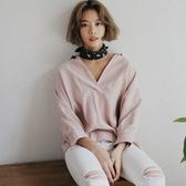 寬鬆長袖襯衫-時尚個性純色V領2色73hs33【時尚巴黎】