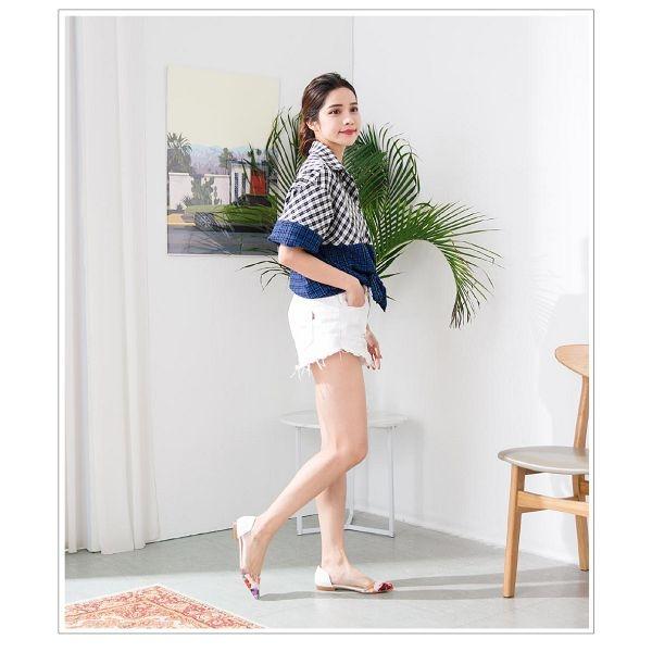 【ORiental TRaffic】前衛個性透明拼接平底鞋 繽紛彩