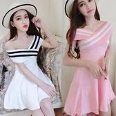 夏季交叉一字領露肩修身顯瘦甜美氣質條紋撞色收腰短裙大擺洋裝 卡布奇诺