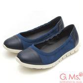 G.Ms. MIT超軟Q系列-牛皮拼接針織布娃娃便鞋*深藍