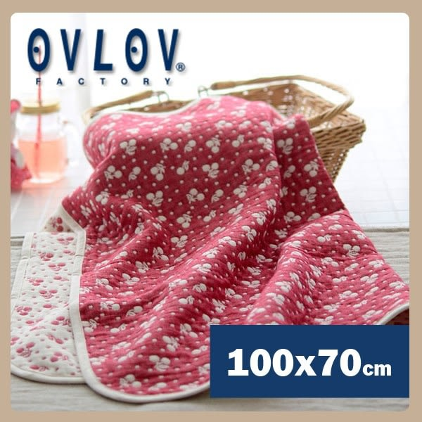 日本製六層紗小蓋被-小櫻桃(紅) OVLOV C-BKT-4021-RD-S