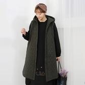 正韓 绗縫鋪棉長款連帽背心外套 (6482) 預購