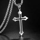 鈦鋼嘻哈風十字架項鍊(附70公分鈦鋼鏈)