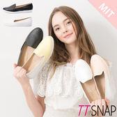 懶人鞋-TTSNAP MIT漆皮菱格真皮樂福鞋 黑/白
