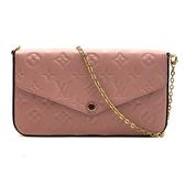 【台中米蘭站】全新品 Louis Vuitton FÉLICIE POCHETTE 三合一信封鍊包(M67856-玫瑰粉)