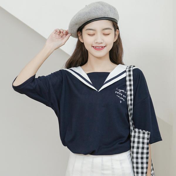 清倉288 韓系時尚海軍風字母短袖上衣