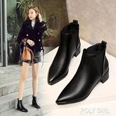 尖頭短靴女2021年新秋冬韓版百搭粗跟切爾西裸靴中跟英倫風馬丁靴 夏季新品