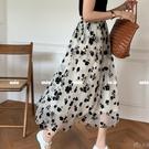 黑色植絨花朵半身裙女2021夏高腰鬆緊腰紗裙A字傘裙 小時光生活館