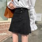 百褶半身裙女新款高腰A字裙子不規則短裙顯瘦黑色牛仔裙