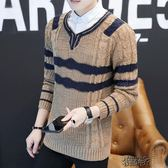 毛衣男春秋季修身套頭線衣青少年長袖帥氣打底針織衫