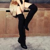 長靴-輕盈超顯瘦彈力布時尚百搭真皮女過膝靴2款71ab13【巴黎精品】