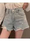 牛仔短褲 夏季新款韓版高腰a字亮鉆網紅牛仔短褲女毛邊顯瘦闊腿熱褲潮