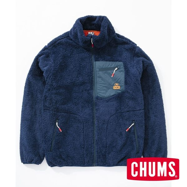 CHUMS 男 Bonding  刷毛外套 深藍/橘 CH041117N059