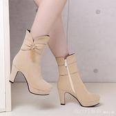 中筒靴 2020秋冬季新款側拉錬女士高跟馬丁靴女短靴粗跟短筒靴女靴子中靴 618購物節