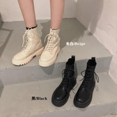 馬丁靴女針織靴時尚英倫風百搭厚底拼接短靴子【時尚大衣櫥】