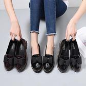 皮鞋女-秋季粗跟小皮鞋英倫風女鞋中跟韓版百搭厚底鞋蝴蝶結漆皮黑色單鞋 降價兩天