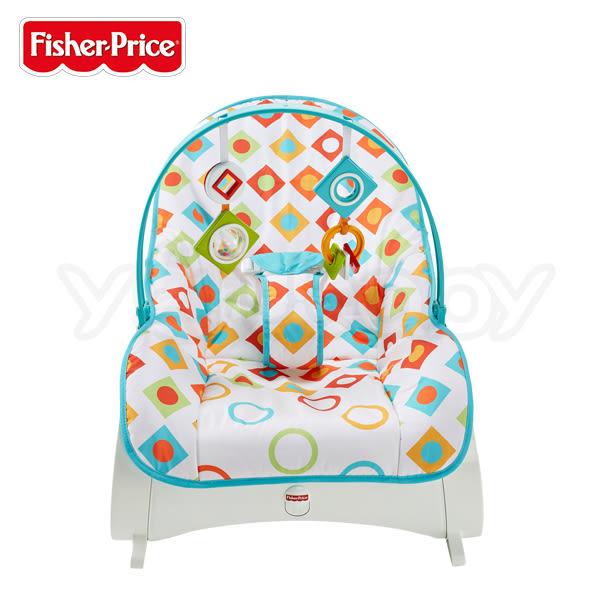 費雪可攜式安撫躺椅/彈跳躺椅/搖搖椅(嬰幼兒幾何圖形座布) ★送限量寶寶身高尺