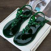 夾腳涼鞋歐美新品女塑膠手工花朵沙灘鞋糖果色果凍平底夾趾度假女涼鞋